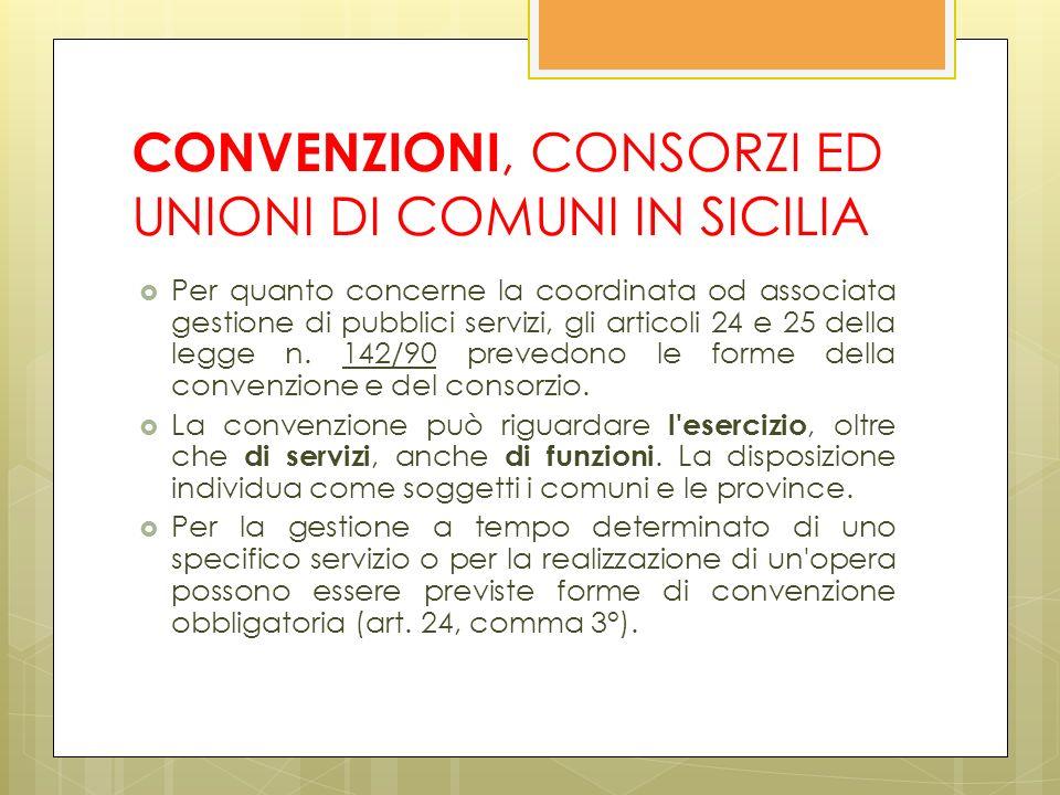 CONVENZIONI, CONSORZI ED UNIONI DI COMUNI IN SICILIA Per quanto concerne la coordinata od associata gestione di pubblici servizi, gli articoli 24 e 25 della legge n.
