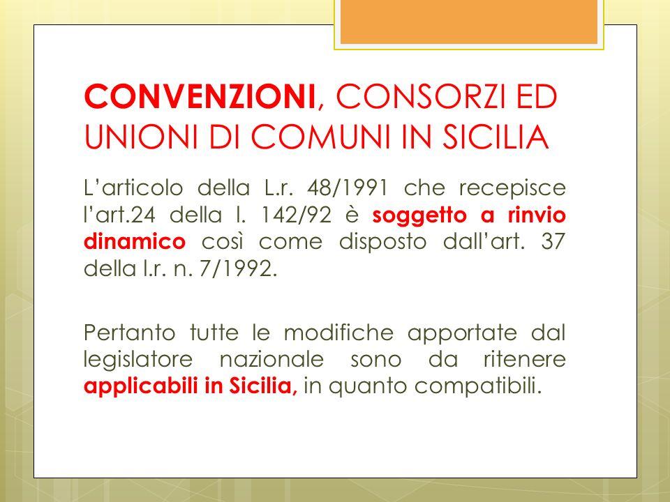 CONVENZIONI, CONSORZI ED UNIONI DI COMUNI IN SICILIA Larticolo della L.r.