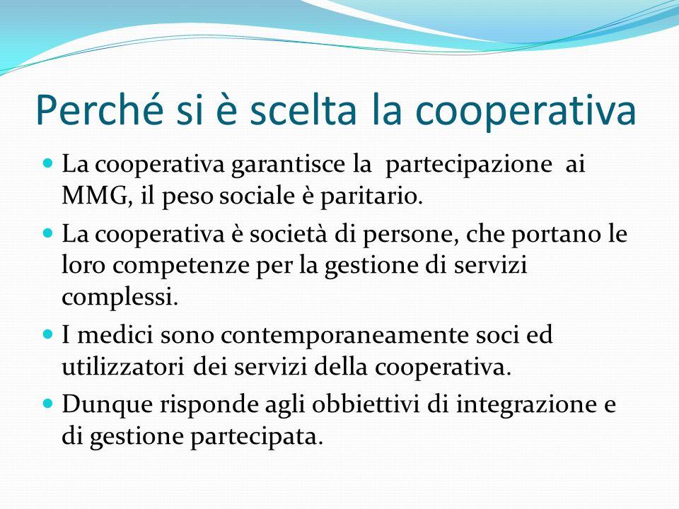 Perché si è scelta la cooperativa La cooperativa garantisce la partecipazione ai MMG, il peso sociale è paritario.