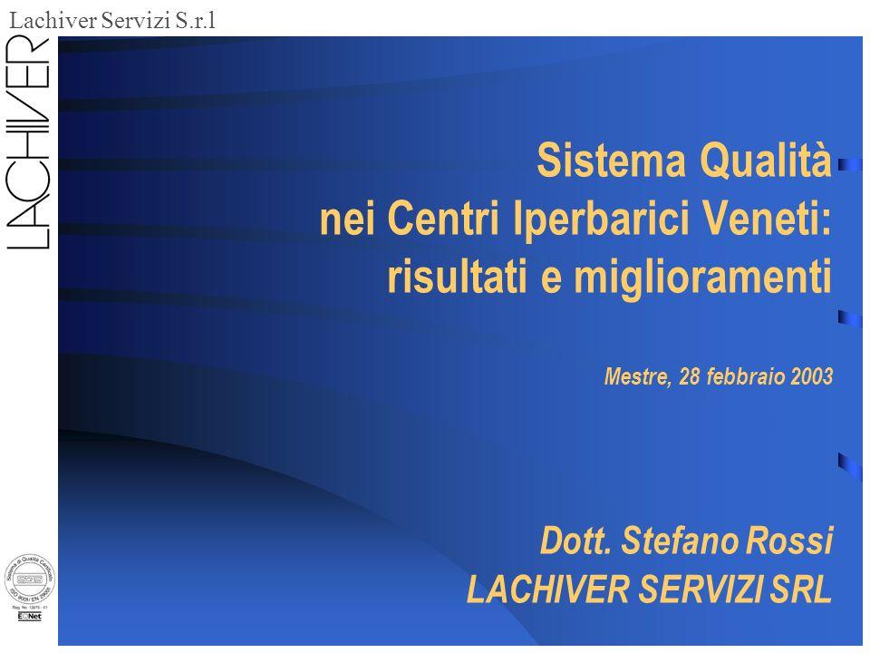Lachiver Servizi S.r.l Sistema Qualità nei Centri Iperbarici Veneti: risultati e miglioramenti Mestre, 28 febbraio 2003 Dott.