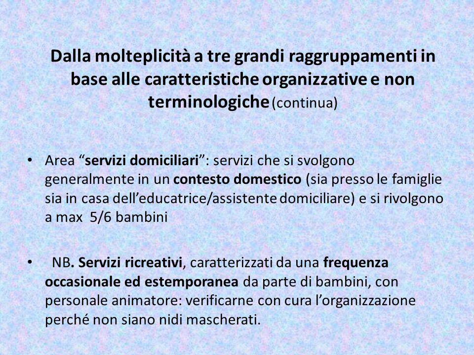 Dalla molteplicità a tre grandi raggruppamenti in base alle caratteristiche organizzative e non terminologiche (continua) Area servizi domiciliari: se