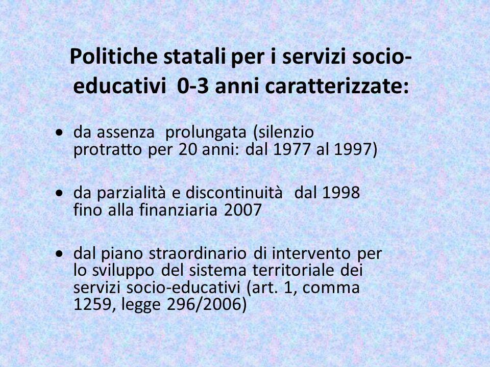 Politiche statali per i servizi socio- educativi 0-3 anni caratterizzate: da assenza prolungata (silenzio protratto per 20 anni: dal 1977 al 1997) da