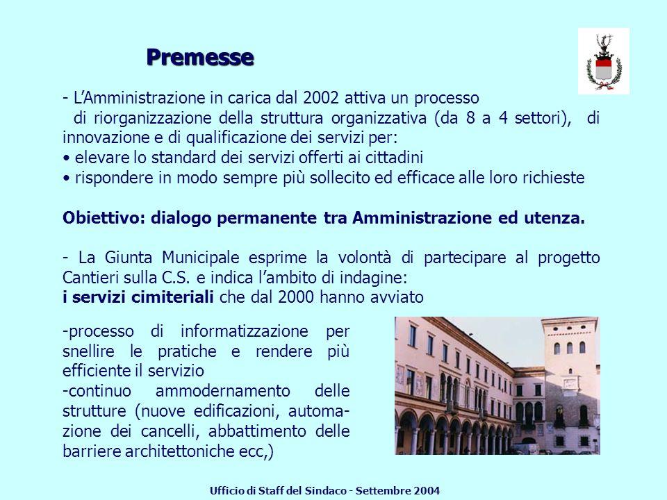 INDAGINE DI CUSTOMER SATISFACTION RELATIVA AI SERVIZI CIMITERIALI Presentazione dei risultati Settembre 2004 COMUNE DI CREMA Ufficio di Staff del Sindaco