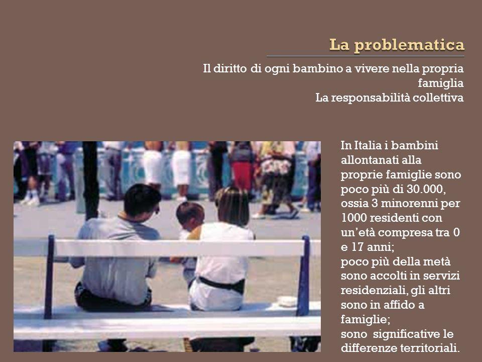 In Italia il ricovero in istituto ha costituito, storicamente, la principale risposta al bisogno di bambini e ragazzi appartenenti a famiglie in difficoltà.
