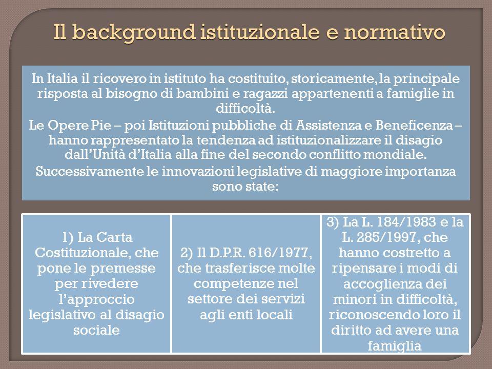 In Italia il ricovero in istituto ha costituito, storicamente, la principale risposta al bisogno di bambini e ragazzi appartenenti a famiglie in diffi