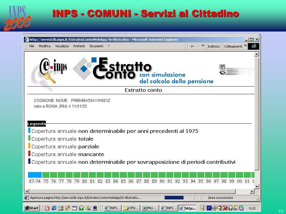 10 INPS - COMUNI - Servizi al Cittadino COGNOME NOME PRRMRA55A11H501Z nato a ROMA (RM) il 11/01/1955 COGNOME NOME PRRMRA55A11H501Z nato a ROMA (RM) il