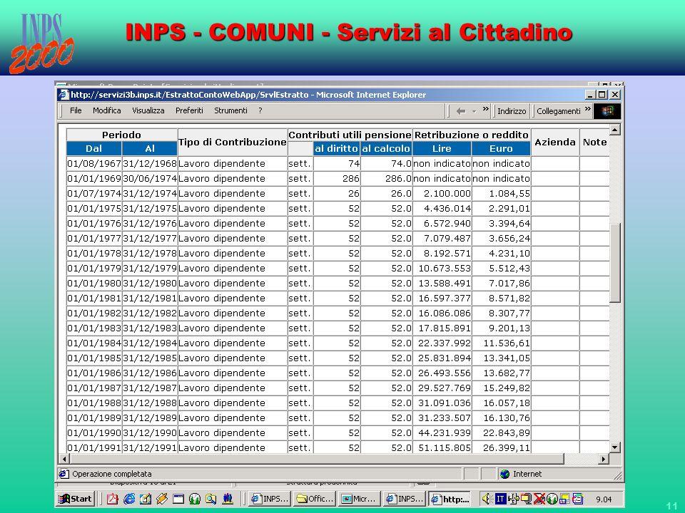 11 INPS - COMUNI - Servizi al Cittadino