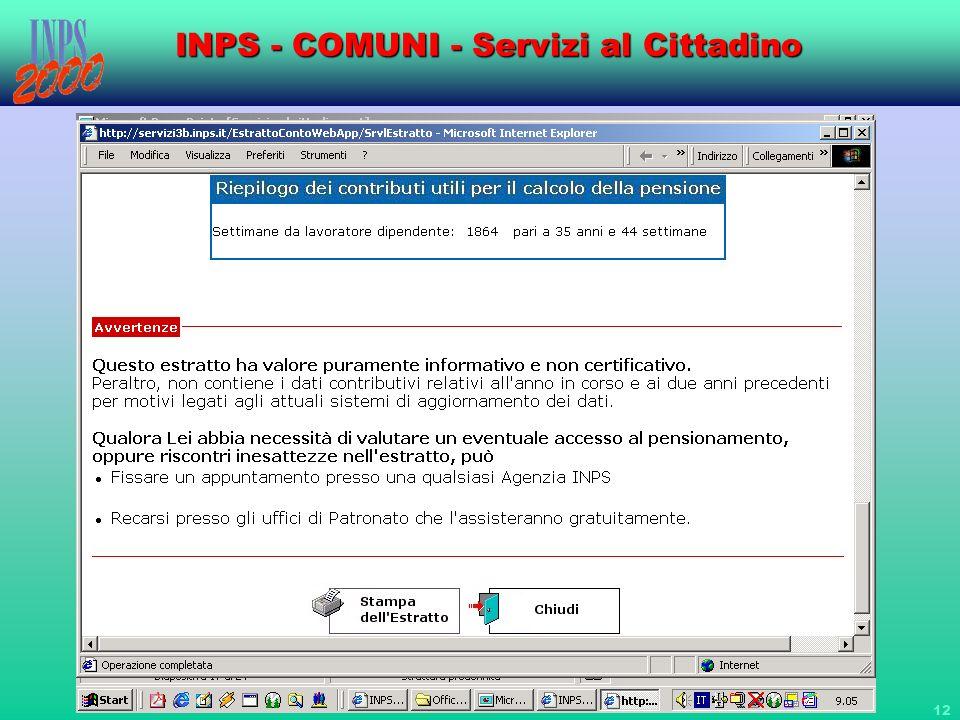 12 INPS - COMUNI - Servizi al Cittadino
