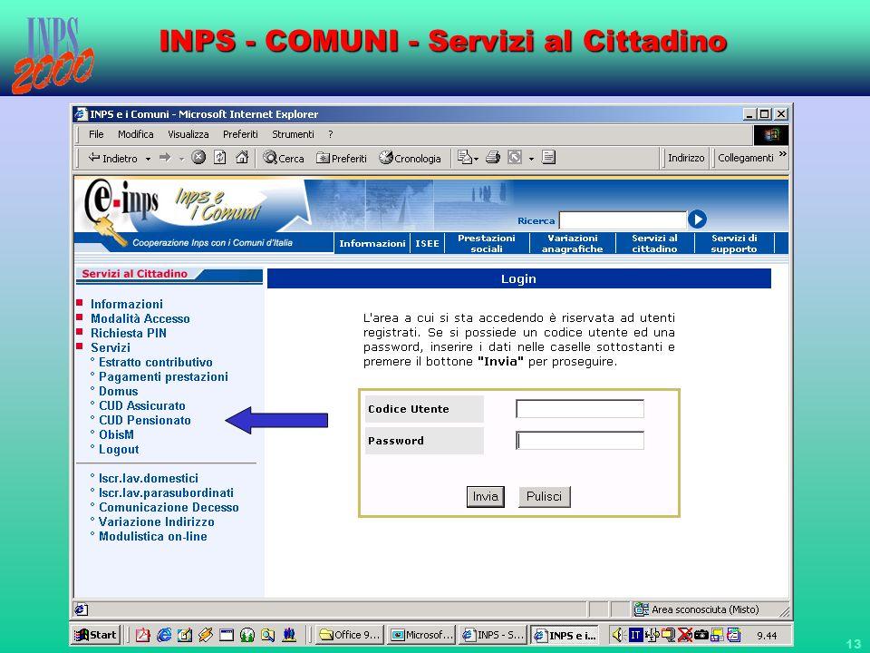 13 INPS - COMUNI - Servizi al Cittadino