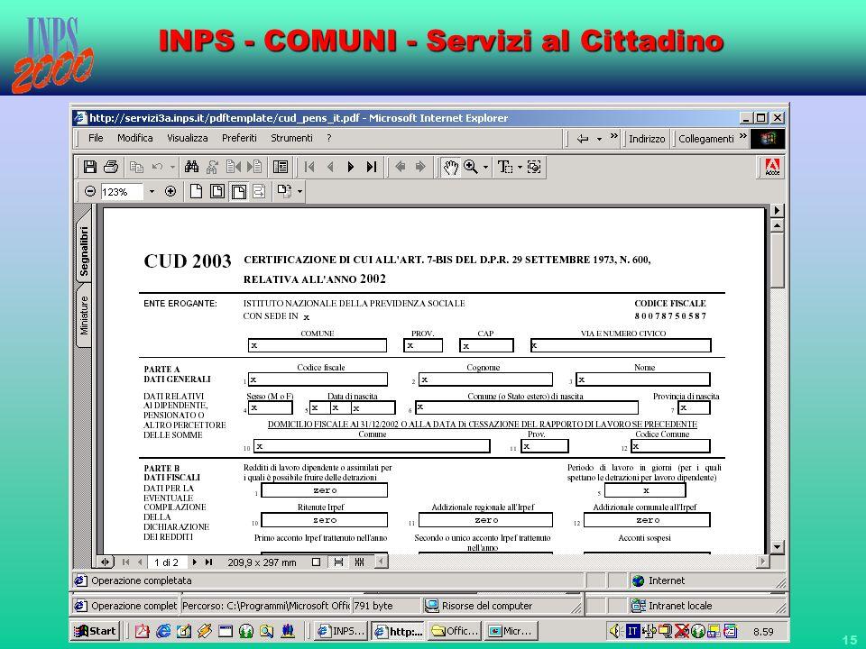 15 INPS - COMUNI - Servizi al Cittadino