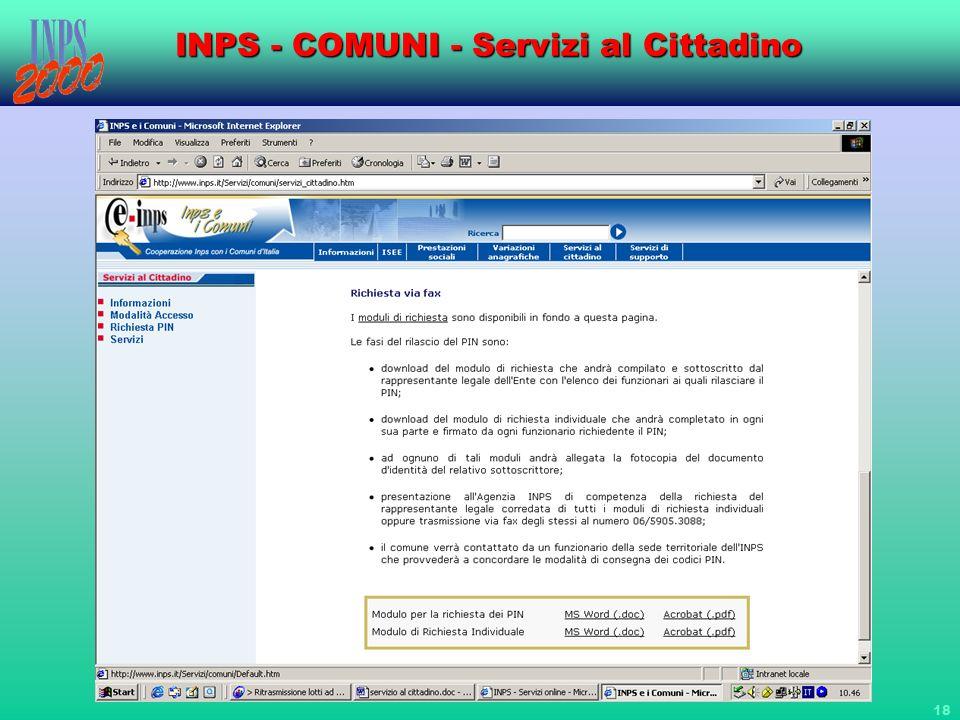 18 INPS - COMUNI - Servizi al Cittadino
