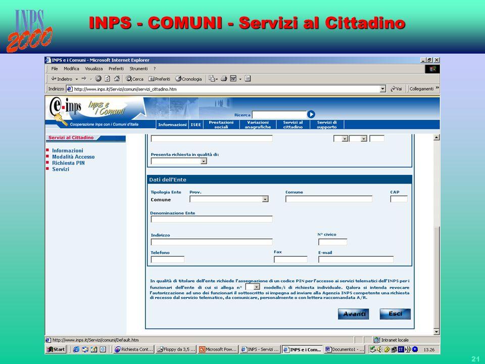 21 INPS - COMUNI - Servizi al Cittadino