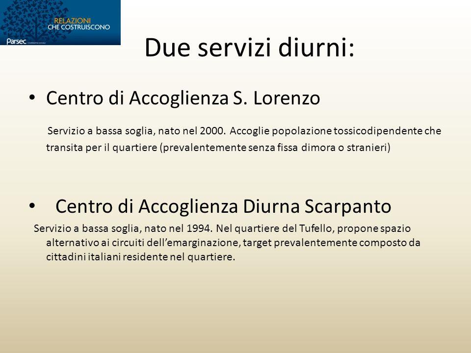 Due servizi diurni: Centro di Accoglienza S. Lorenzo Servizio a bassa soglia, nato nel 2000. Accoglie popolazione tossicodipendente che transita per i