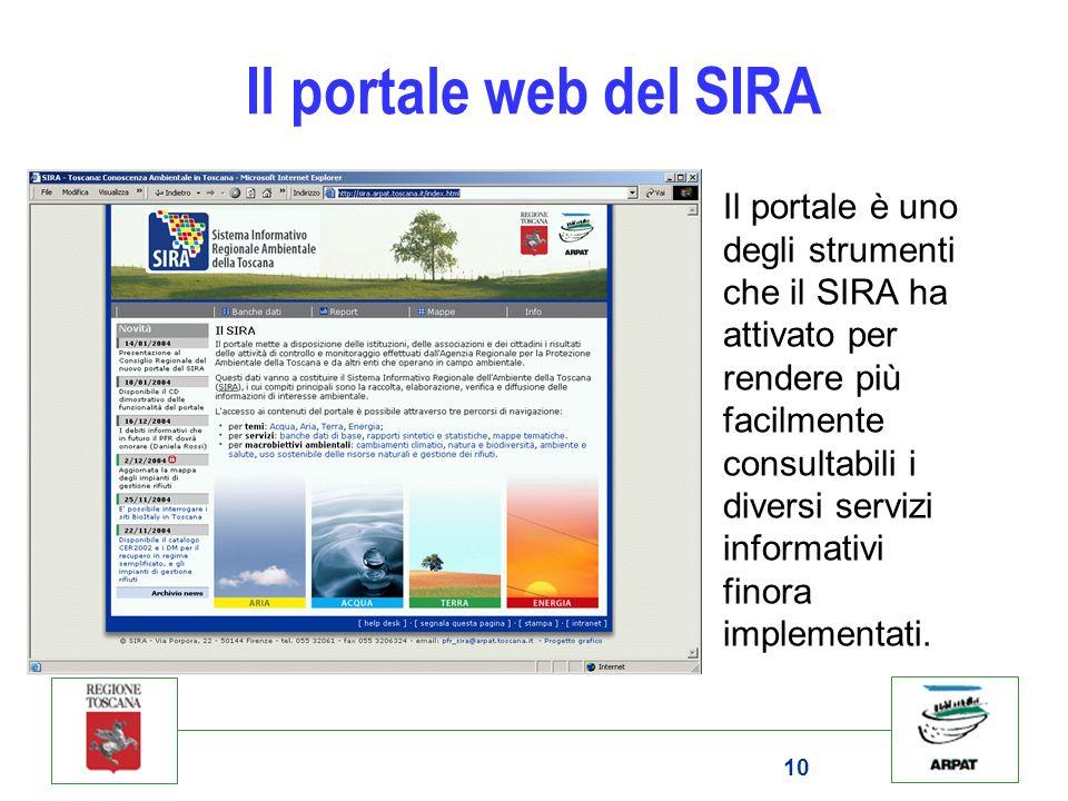 10 Il portale web del SIRA Il portale è uno degli strumenti che il SIRA ha attivato per rendere più facilmente consultabili i diversi servizi informat