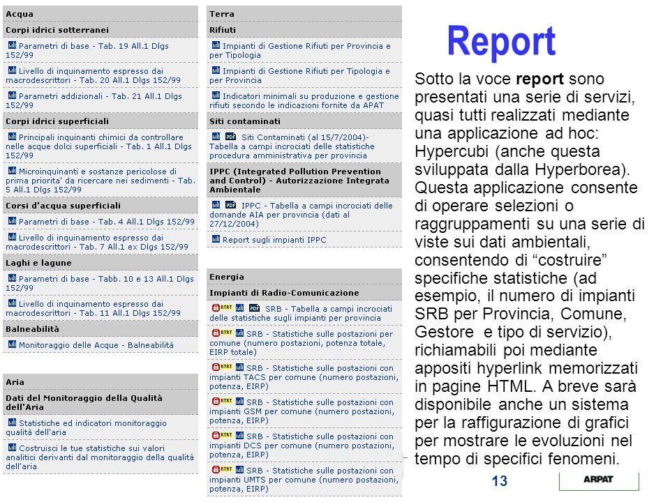 13 Report Sotto la voce report sono presentati una serie di servizi, quasi tutti realizzati mediante una applicazione ad hoc: Hypercubi (anche questa