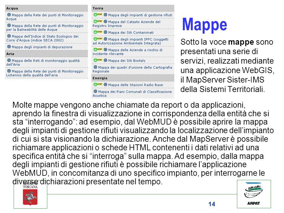 14 Mappe Sotto la voce mappe sono presentati una serie di servizi, realizzati mediante una applicazione WebGIS, il MapServer Sister-IMS della Sistemi