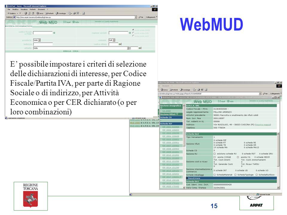 15 WebMUD E possibile impostare i criteri di selezione delle dichiarazioni di interesse, per Codice Fiscale/Partita IVA, per parte di Ragione Sociale