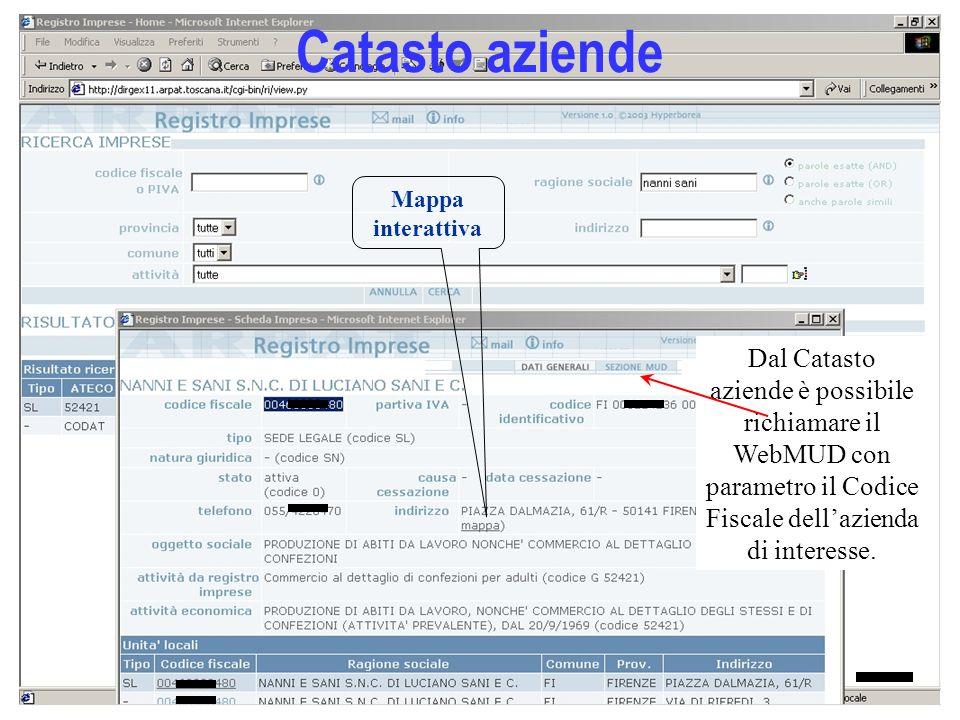 17 Catasto aziende Dal Catasto aziende è possibile richiamare il WebMUD con parametro il Codice Fiscale dellazienda di interesse. Mappa interattiva