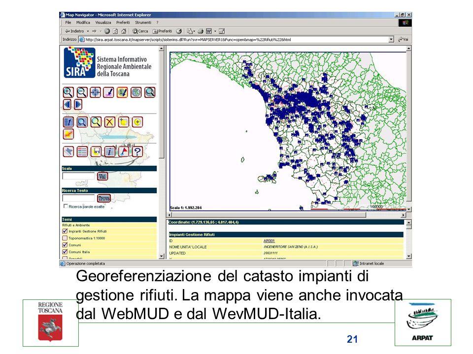 21 Georeferenziazione del catasto impianti di gestione rifiuti. La mappa viene anche invocata dal WebMUD e dal WevMUD-Italia.