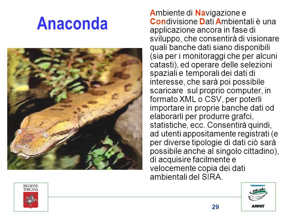 29 Anaconda Ambiente di Navigazione e Condivisione Dati Ambientali è una applicazione ancora in fase di sviluppo, che consentirà di visionare quali ba
