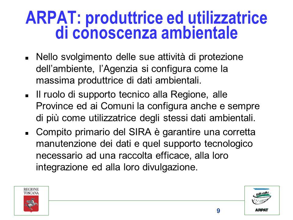 9 ARPAT: produttrice ed utilizzatrice di conoscenza ambientale n Nello svolgimento delle sue attività di protezione dellambiente, lAgenzia si configur