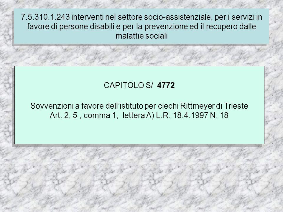 7.4.310.1.237 Finanziamento delle spese correnti per i servizi socio-assistenziali dei comuni CAPITOLO S/ 4772 Sovvenzioni a favore dellistituto per ciechi Rittmeyer di Trieste Art.