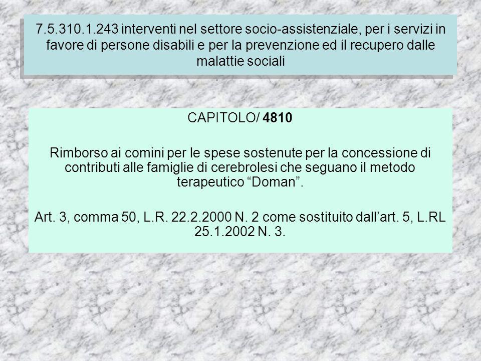 7.4.310.1.237 Finanziamento delle spese correnti per i servizi socio-assistenziali dei comuni CAPITOLO/ 4810 Rimborso ai comini per le spese sostenute per la concessione di contributi alle famiglie di cerebrolesi che seguano il metodo terapeutico Doman.