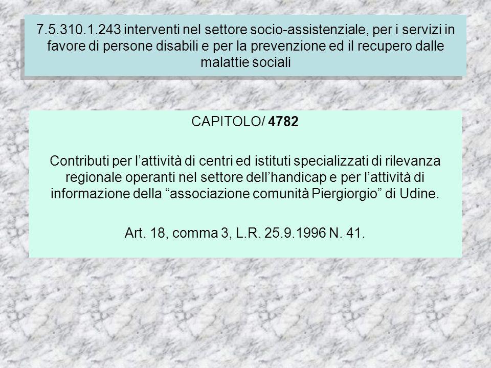 7.4.310.1.237 Finanziamento delle spese correnti per i servizi socio-assistenziali dei comuni CAPITOLO/ 4782 Contributi per lattività di centri ed istituti specializzati di rilevanza regionale operanti nel settore dellhandicap e per lattività di informazione della associazione comunità Piergiorgio di Udine.