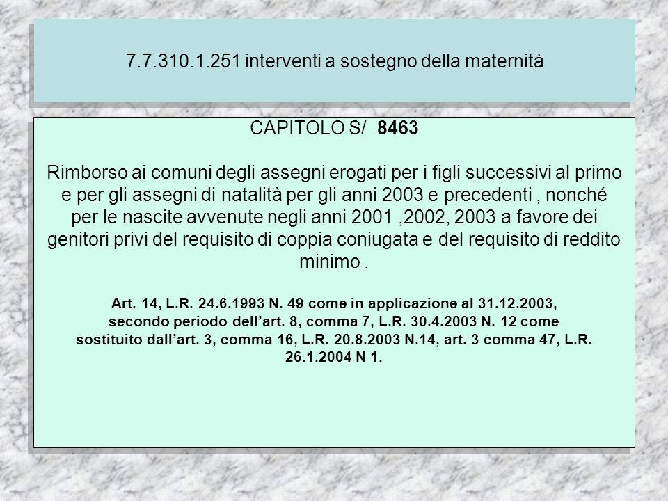 7.7.310.1.251 interventi a sostegno della maternità CAPITOLO S/ 8463 Rimborso ai comuni degli assegni erogati per i figli successivi al primo e per gli assegni di natalità per gli anni 2003 e precedenti, nonché per le nascite avvenute negli anni 2001,2002, 2003 a favore dei genitori privi del requisito di coppia coniugata e del requisito di reddito minimo.