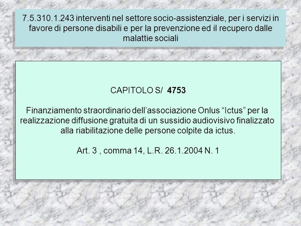 7.4.310.1.237 Finanziamento delle spese correnti per i servizi socio-assistenziali dei comuni CAPITOLO S/ 4753 Finanziamento straordinario dellassociazione Onlus Ictus per la realizzazione diffusione gratuita di un sussidio audiovisivo finalizzato alla riabilitazione delle persone colpite da ictus.