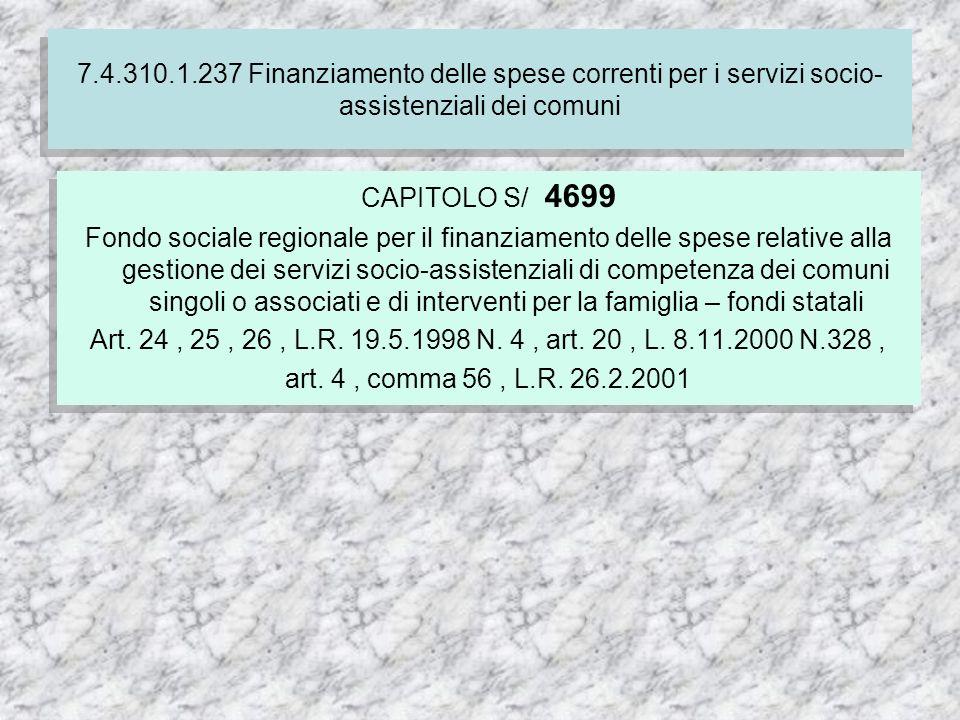 7.4.310.1.237 Finanziamento delle spese correnti per i servizi socio- assistenziali dei comuni CAPITOLO S/ 4699 Fondo sociale regionale per il finanziamento delle spese relative alla gestione dei servizi socio-assistenziali di competenza dei comuni singoli o associati e di interventi per la famiglia – fondi statali Art.