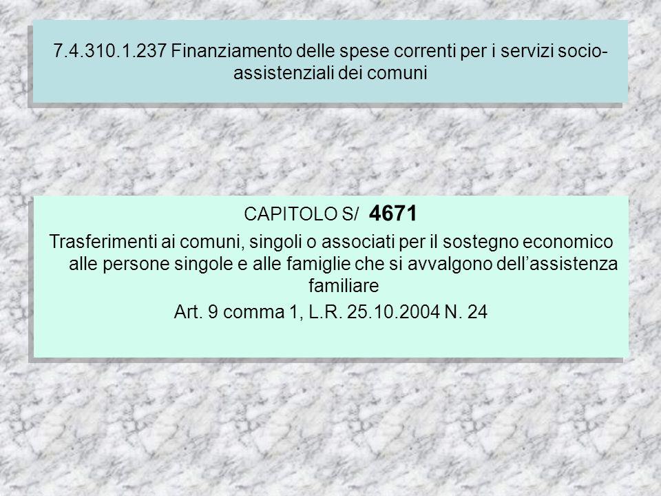 CAPITOLO S/ 4671 Trasferimenti ai comuni, singoli o associati per il sostegno economico alle persone singole e alle famiglie che si avvalgono dellassistenza familiare Art.