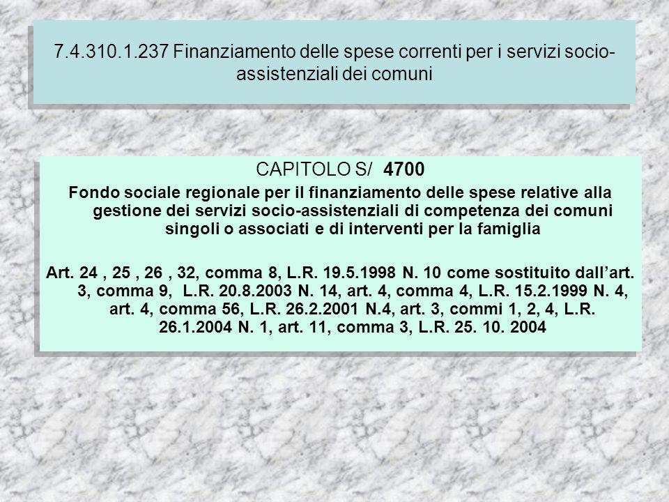 CAPITOLO S/ 4700 Fondo sociale regionale per il finanziamento delle spese relative alla gestione dei servizi socio-assistenziali di competenza dei comuni singoli o associati e di interventi per la famiglia Art.