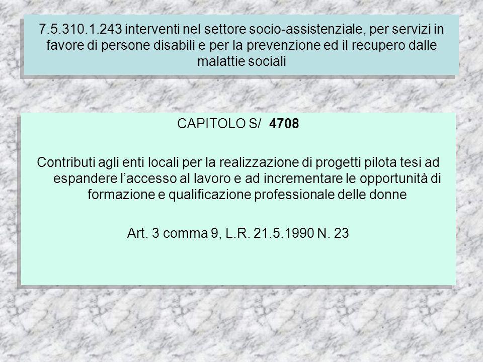 CAPITOLO S/ 4708 Contributi agli enti locali per la realizzazione di progetti pilota tesi ad espandere laccesso al lavoro e ad incrementare le opportunità di formazione e qualificazione professionale delle donne Art.