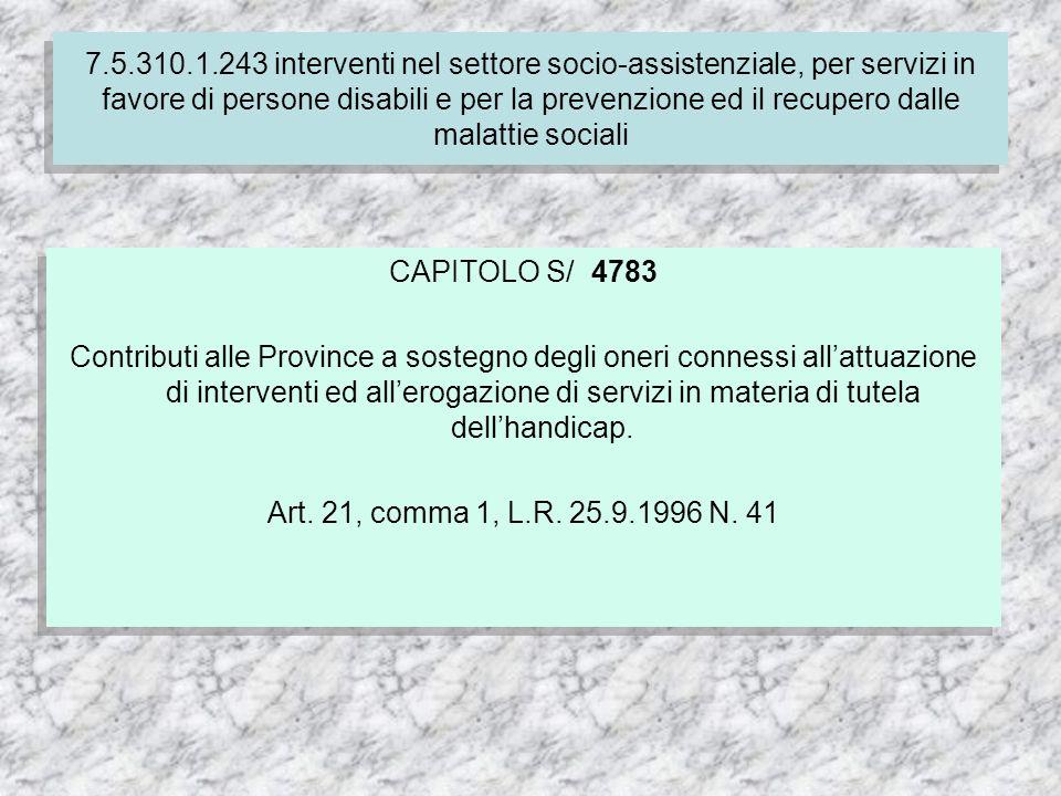 CAPITOLO S/ 4783 Contributi alle Province a sostegno degli oneri connessi allattuazione di interventi ed allerogazione di servizi in materia di tutela dellhandicap.