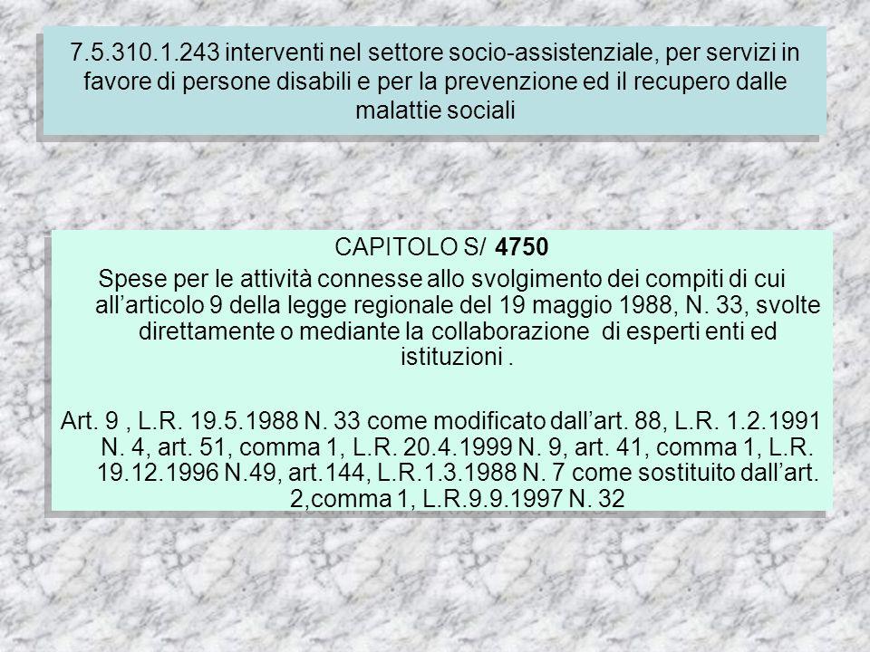 CAPITOLO S/ 4750 Spese per le attività connesse allo svolgimento dei compiti di cui allarticolo 9 della legge regionale del 19 maggio 1988, N.