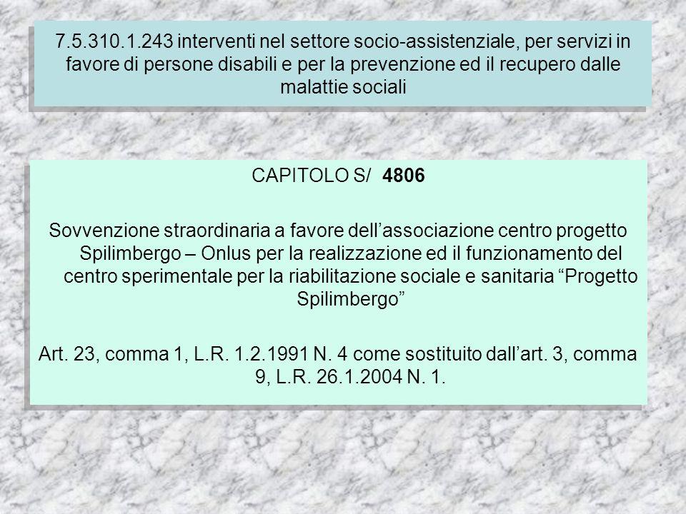 CAPITOLO S/ 4806 Sovvenzione straordinaria a favore dellassociazione centro progetto Spilimbergo – Onlus per la realizzazione ed il funzionamento del centro sperimentale per la riabilitazione sociale e sanitaria Progetto Spilimbergo Art.