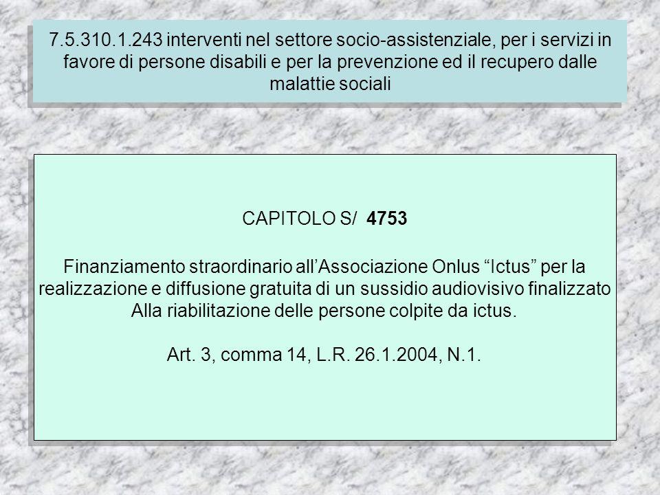 7.4.310.1.237 Finanziamento delle spese correnti per i servizi socio-assistenziali dei comuni CAPITOLO S/ 4753 Finanziamento straordinario allAssociazione Onlus Ictus per la realizzazione e diffusione gratuita di un sussidio audiovisivo finalizzato Alla riabilitazione delle persone colpite da ictus.
