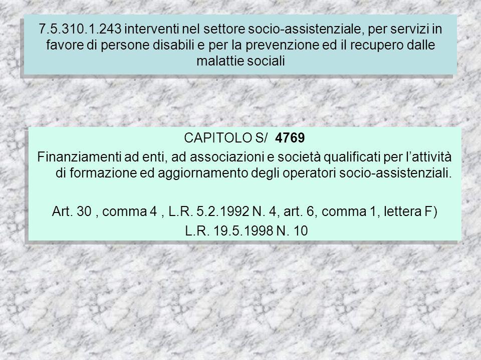 CAPITOLO S/ 4769 Finanziamenti ad enti, ad associazioni e società qualificati per lattività di formazione ed aggiornamento degli operatori socio-assistenziali.