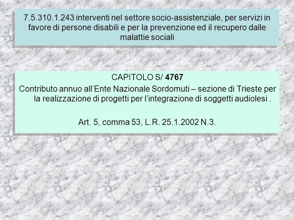 CAPITOLO S/ 4767 Contributo annuo allEnte Nazionale Sordomuti – sezione di Trieste per la realizzazione di progetti per lintegrazione di soggetti audiolesi.