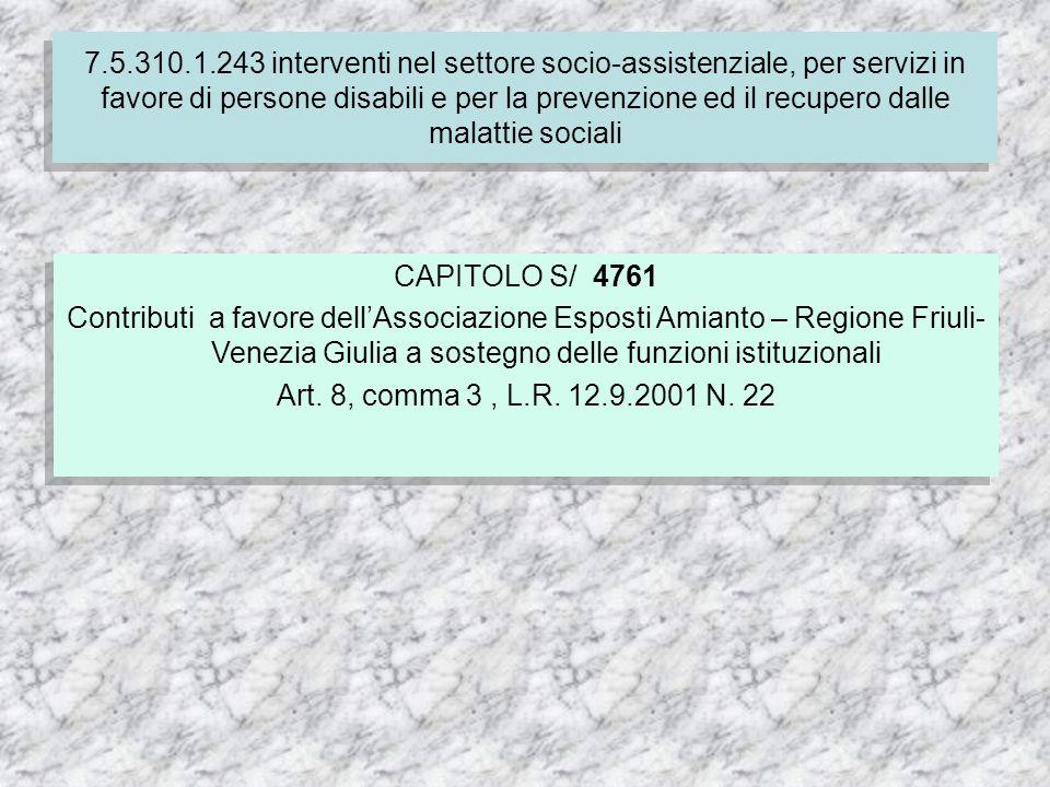 CAPITOLO S/ 4761 Contributi a favore dellAssociazione Esposti Amianto – Regione Friuli- Venezia Giulia a sostegno delle funzioni istituzionali Art.
