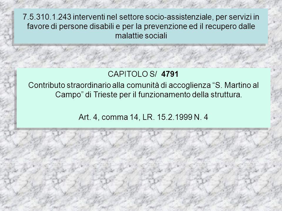7.5.310.1.243 interventi nel settore socio-assistenziale, per servizi in favore di persone disabili e per la prevenzione ed il recupero dalle malattie sociali CAPITOLO S/ 4791 Contributo straordinario alla comunità di accoglienza S.