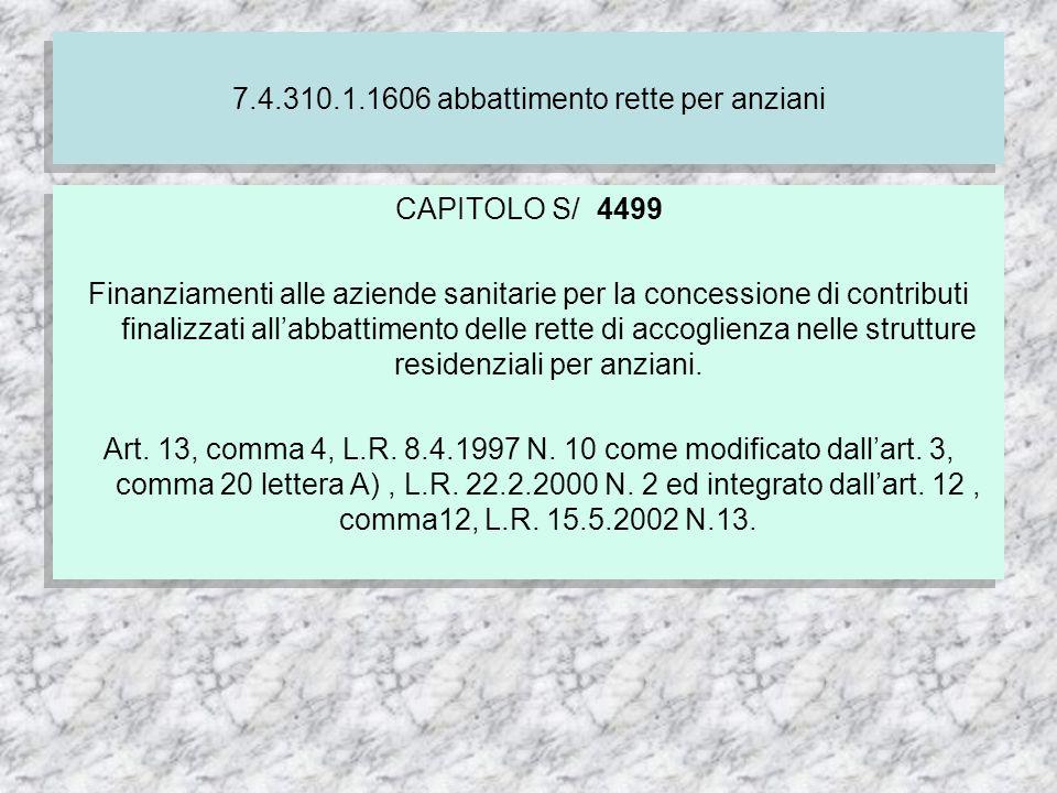 7.4.310.1.1606 abbattimento rette per anziani CAPITOLO S/ 4499 Finanziamenti alle aziende sanitarie per la concessione di contributi finalizzati allabbattimento delle rette di accoglienza nelle strutture residenziali per anziani.