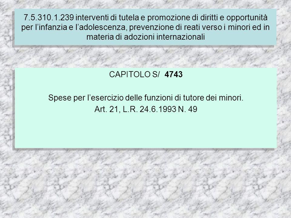 7.5.310.1.239 interventi di tutela e promozione di diritti e opportunità per linfanzia e ladolescenza, prevenzione di reati verso i minori ed in materia di adozioni internazionali CAPITOLO S/ 4743 Spese per lesercizio delle funzioni di tutore dei minori.