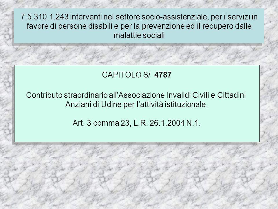 7.4.310.1.237 Finanziamento delle spese correnti per i servizi socio-assistenziali dei comuni CAPITOLO S/ 4787 Contributo straordinario allAssociazione Invalidi Civili e Cittadini Anziani di Udine per lattività istituzionale.