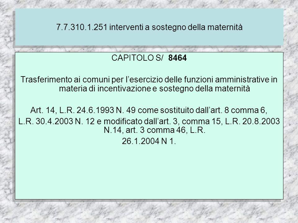 7.7.310.1.251 interventi a sostegno della maternità CAPITOLO S/ 8464 Trasferimento ai comuni per lesercizio delle funzioni amministrative in materia di incentivazione e sostegno della maternità Art.