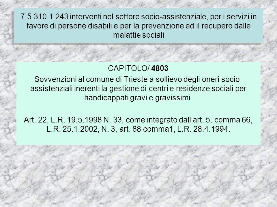 7.4.310.1.237 Finanziamento delle spese correnti per i servizi socio-assistenziali dei comuni CAPITOLO/ 4803 Sovvenzioni al comune di Trieste a sollievo degli oneri socio- assistenziali inerenti la gestione di centri e residenze sociali per handicappati gravi e gravissimi.