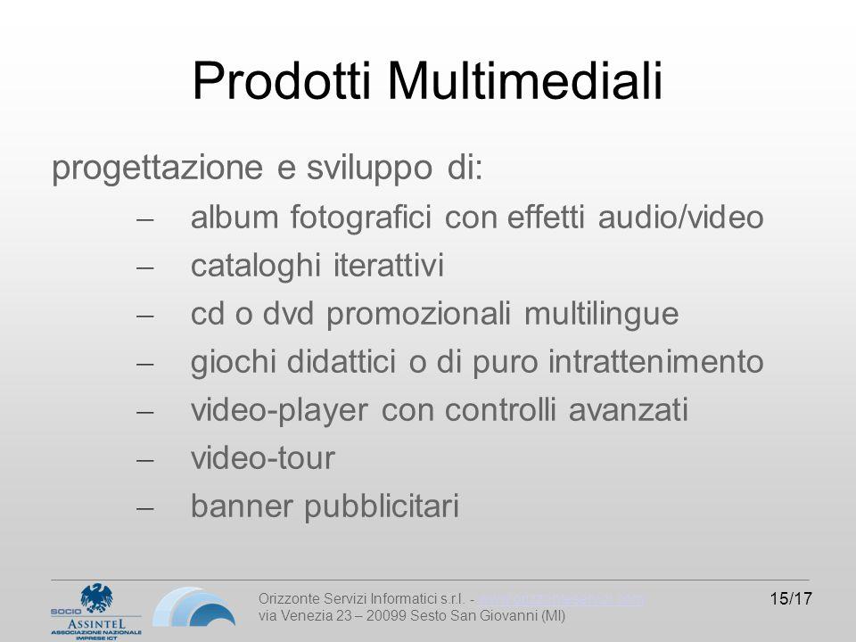 Orizzonte Servizi Informatici s.r.l. - www.orizzonteservizi.comwww.orizzonteservizi.com via Venezia 23 – 20099 Sesto San Giovanni (MI) 15/17 Prodotti