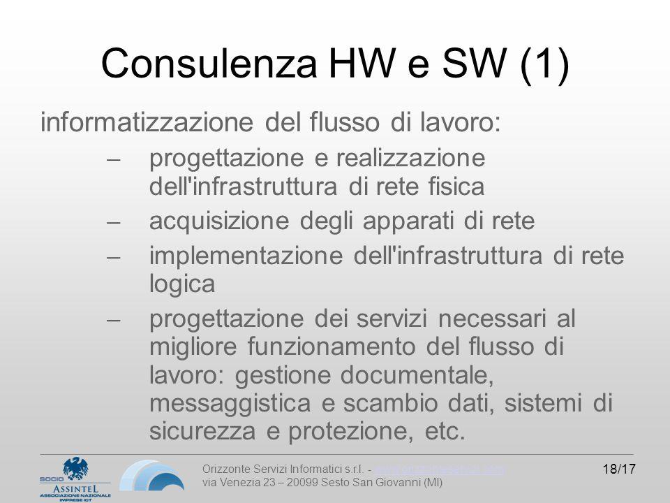 Orizzonte Servizi Informatici s.r.l. - www.orizzonteservizi.comwww.orizzonteservizi.com via Venezia 23 – 20099 Sesto San Giovanni (MI) 18/17 Consulenz