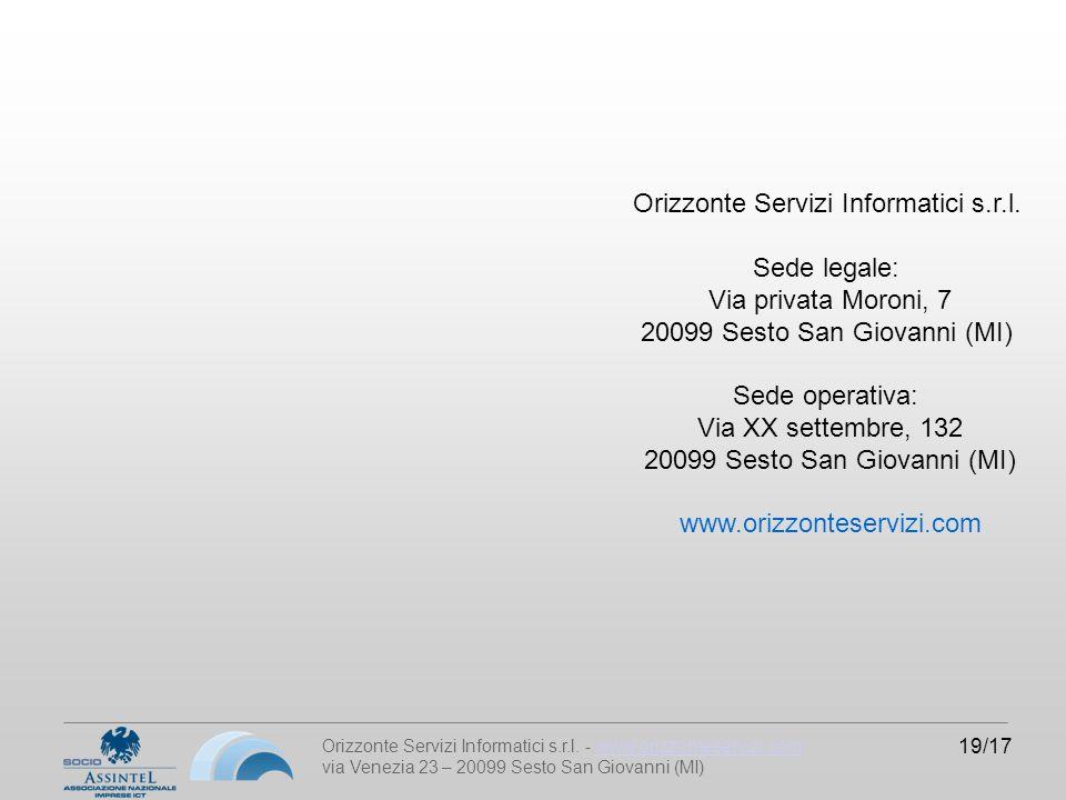 Orizzonte Servizi Informatici s.r.l. - www.orizzonteservizi.comwww.orizzonteservizi.com via Venezia 23 – 20099 Sesto San Giovanni (MI) 19/17 Orizzonte